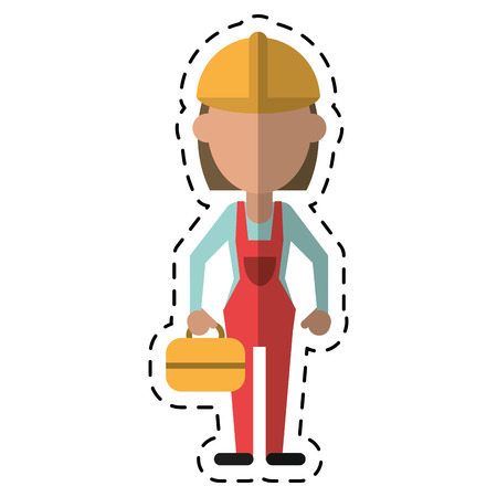 woman worker construction toolbox-cut line vector illustration