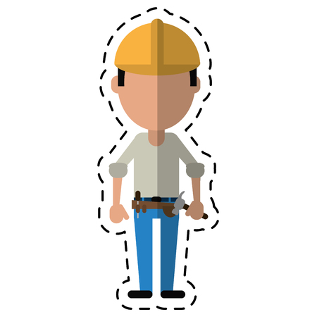 tool belt: construction man helmet tool belt hammer-cut line vector illustration