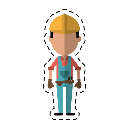 tool belt: construction man with tool belt gloves-cut line vector illustration