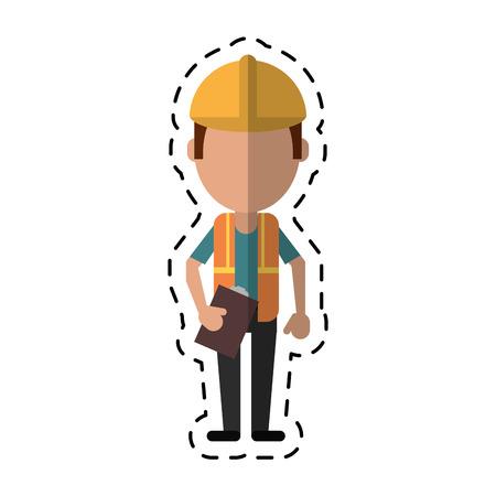 construction man helmet tool belt and helmet-cut line vector illustration