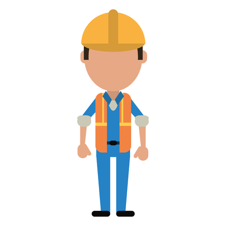 Construction Man Wearing Vest Helmet Protection Vector Illustration