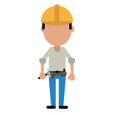 tool belt: construction man helmet tool belt and helmet-cut line vector illustration