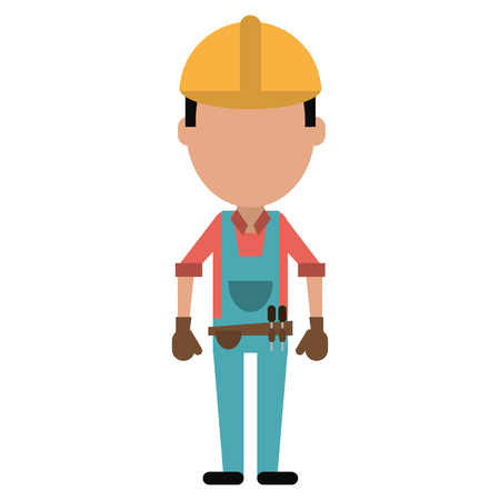 tool belt: construction man with tool belt gloves vector illustration