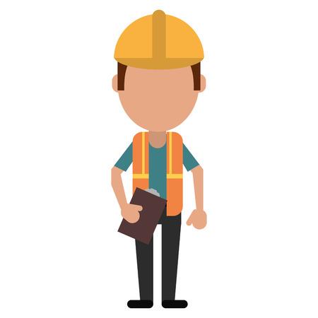 discussing: foreman construction helmet vest and clipboard vector illustration