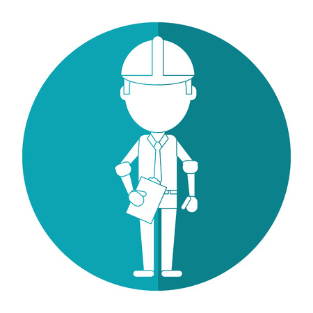 business man construction clipboard helmet shadow vector illustration eps 10