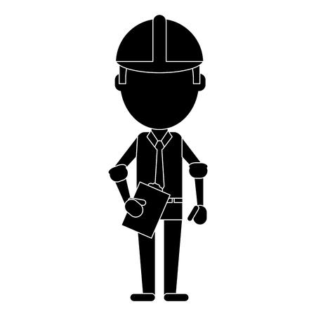 business man construction clipboard helmet pictogram vector illustration eps 10 Vektoros illusztráció