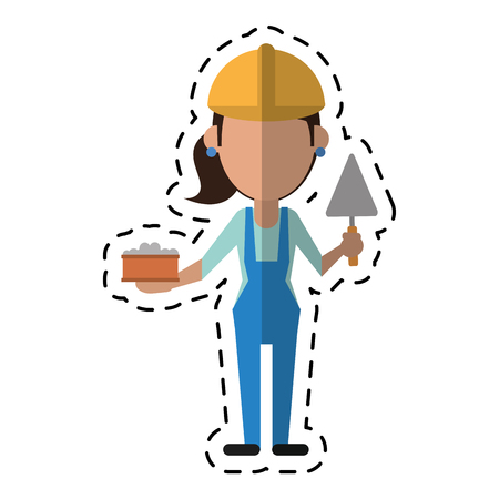 cartoon woman construction with brick and spatula vector illustration eps 10