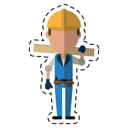 tool belt: cartoon man construction wooden board and tool belt vector illustration