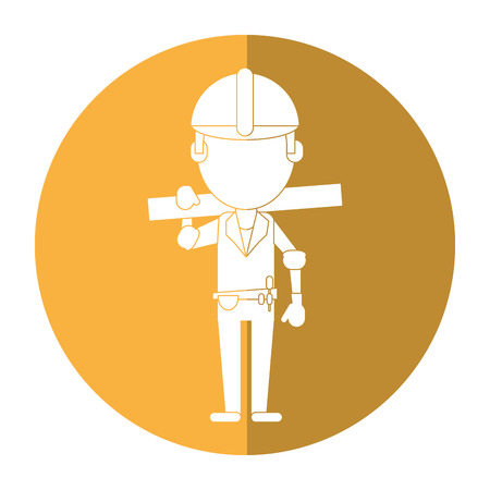 man construction wooden board and tool belt shadow vector illustration