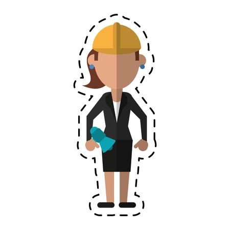 superintendent: cartoon woman with megaphone work helmet vector illustration Illustration