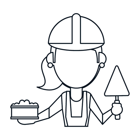 bricklaying: woman construction with brick and spatula thin line vector illustration