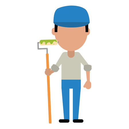 whitewash: man painter with roller and cap vector illustration eps 10