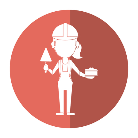 woman construction with brick and spatula shadow vector illustration eps 10