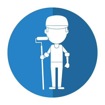 concrete block: man painter with roller and cap shadow vector illustration eps 10 Illustration