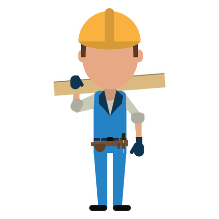 man construction wooden board and tool belt vector illustration