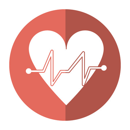 heart beat pulse cardiac medical shadow vector illustration