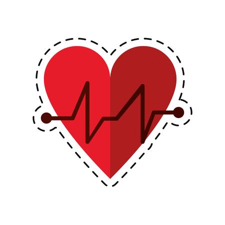 electrocardiograma: cartoon heart beat pulse cardiac medical icon vector illustration Vectores