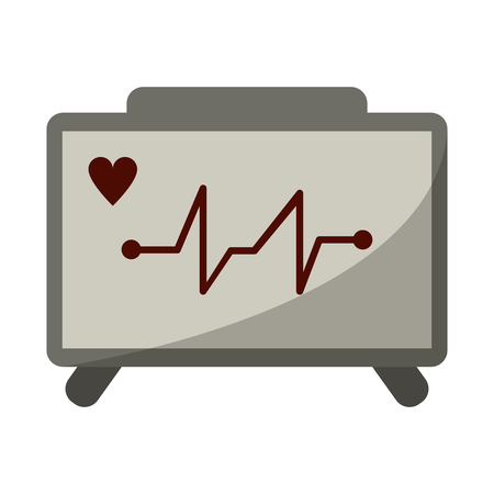 ecg heart machine medical device vector illustration