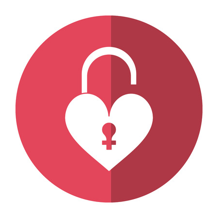heart padlock female sign shadow vector illustration
