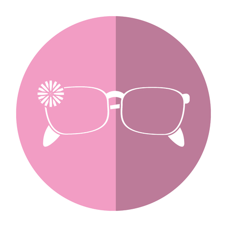 old notebook: female glasses flower accessory shadow vector illustration