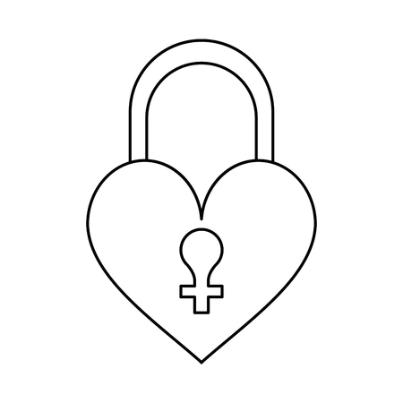 liking: heart padlock female sign thin line vector illustration