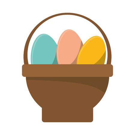 basket with easter egg vector illustration
