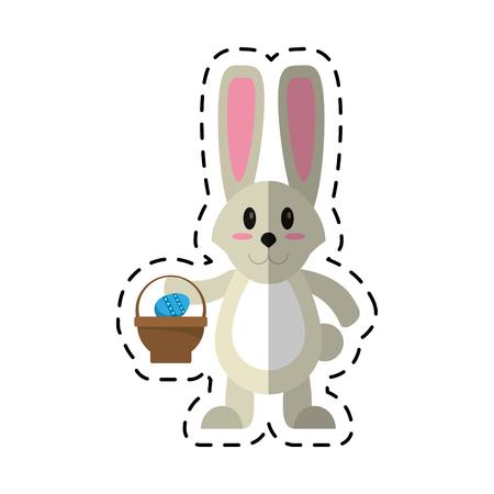 cartoon easter bunny with basket egg vector illustration eps 10 Illustration