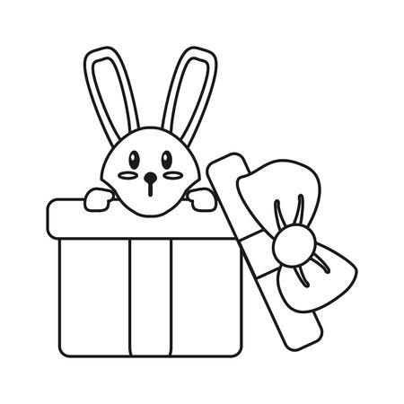 hiding: cute rabbit hiding gift box surprise thin line vector illustration eps 10