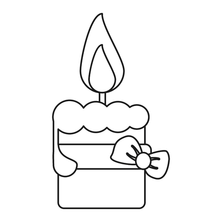 easter candle: easter candle with ribbon bow decoration thin line vector illustration eps 10