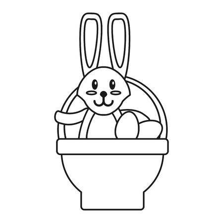 easter rabbit inside egg basket thin line vector illustration eps 10 Illustration