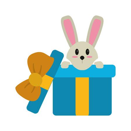 hiding: cute rabbit hiding gift box surprise vector illustration eps 10