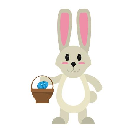 easter bunny with basket egg vector illustration eps 10