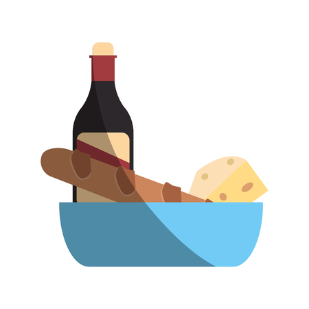 bread and wine: bread, cheese and wine over white background. colorful design. vector illustration Illustration
