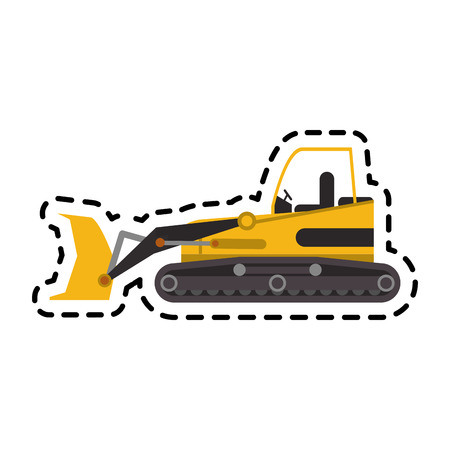 cargador frontal: construction front loader truck icon over white background. colorful design. vector illustration