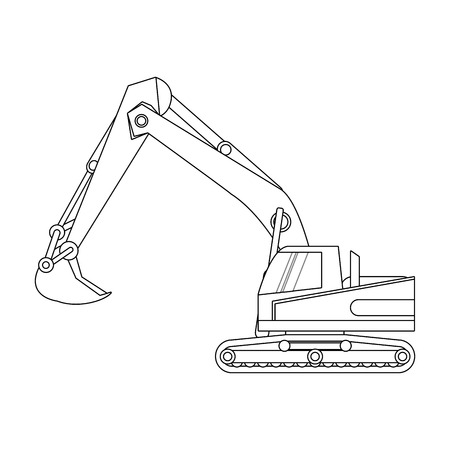 construction excavator  truck icon over white background. vector illustration