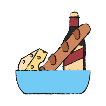 bread and wine: wine, cheese and bread icon over white background. vector illustration Illustration