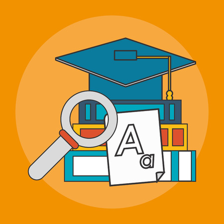 books, magnifying glass and graduation cap over yellow background. colorful design. vector illustration