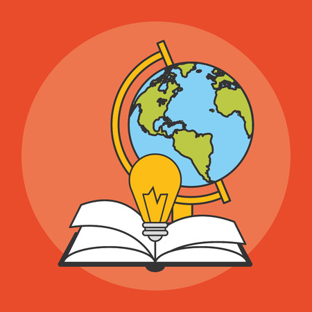 books and earth planet and bulb light  icon over red background. colorful design. vector illustration