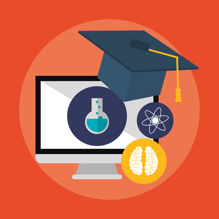 computer and graduation cap icon over red background. colorful design. vector illustration Illustration