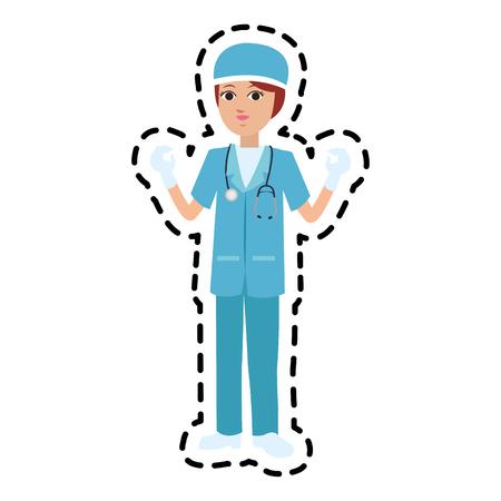 female surgeon medical doctor icon image vector illustration design