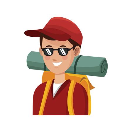 people traveling: traveler man with backpack over white background. colorful design. people traveling concept. vector illustration Illustration