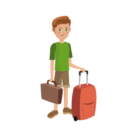 people traveling: man with suitcases over white background. colorful design. people traveling concept. vector illustration