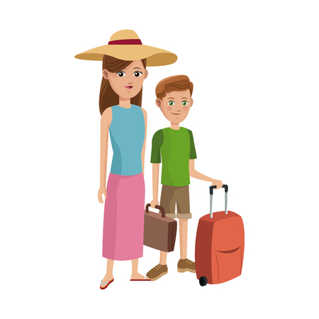 woman and boy with suitcases over white background. people traveling concept. colorful design. vector illustration Illustration