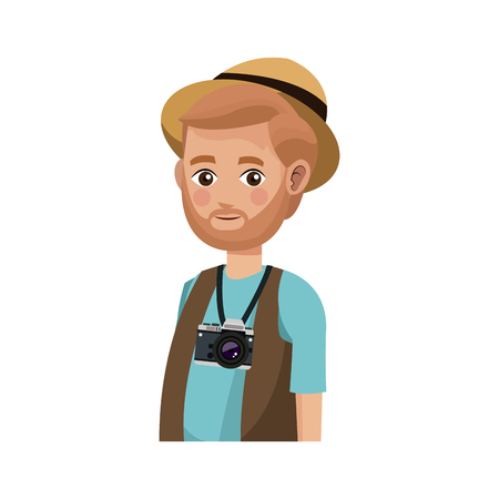 people traveling: man with a photographic camera over white background. colorful design. people traveling concept. vector illustration Illustration