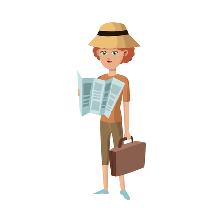 people traveling: woman with briefcase and map over white background. people traveling concept. vector illustration Illustration