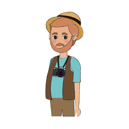 people traveling: man icon over white background. people traveling concept. vector illustration Illustration