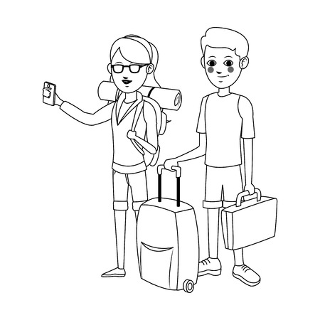 people traveling: happy couple ready to travel over white background. people traveling concept. vector illustration Illustration