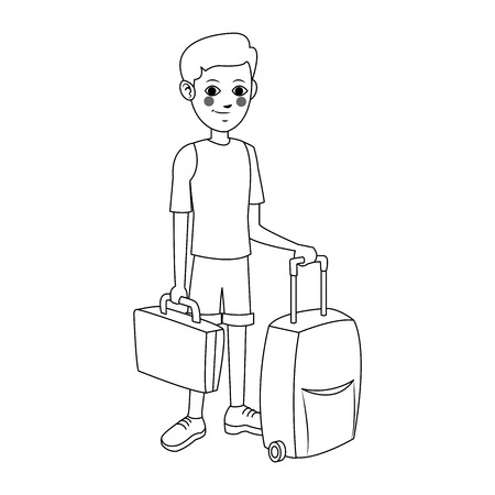 people traveling: man with suitcases over white background. people traveling concept. vector illustration Illustration