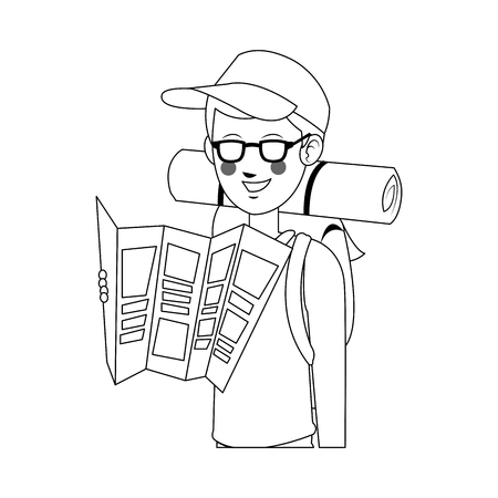 people traveling: man with backpack over white background. people traveling concept. vector illustration