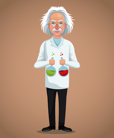 character scientist physical with test tube laboratory vector illustration eps 10